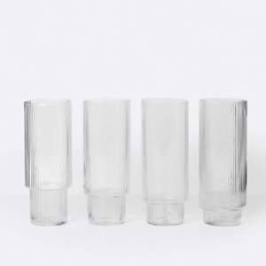 Ferm Living Ripple Long Drink Glass (Set of 4)플레이츠